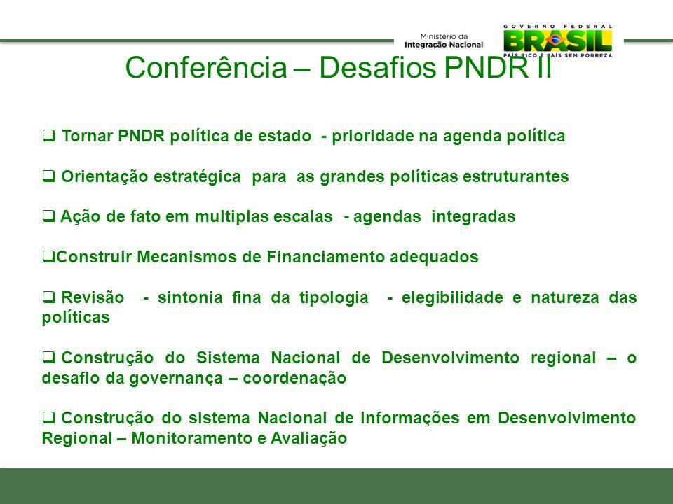 Conferência – Desafios PNDR II  Tornar PNDR política de estado - prioridade na agenda política  Orientação estratégica para as grandes políticas est