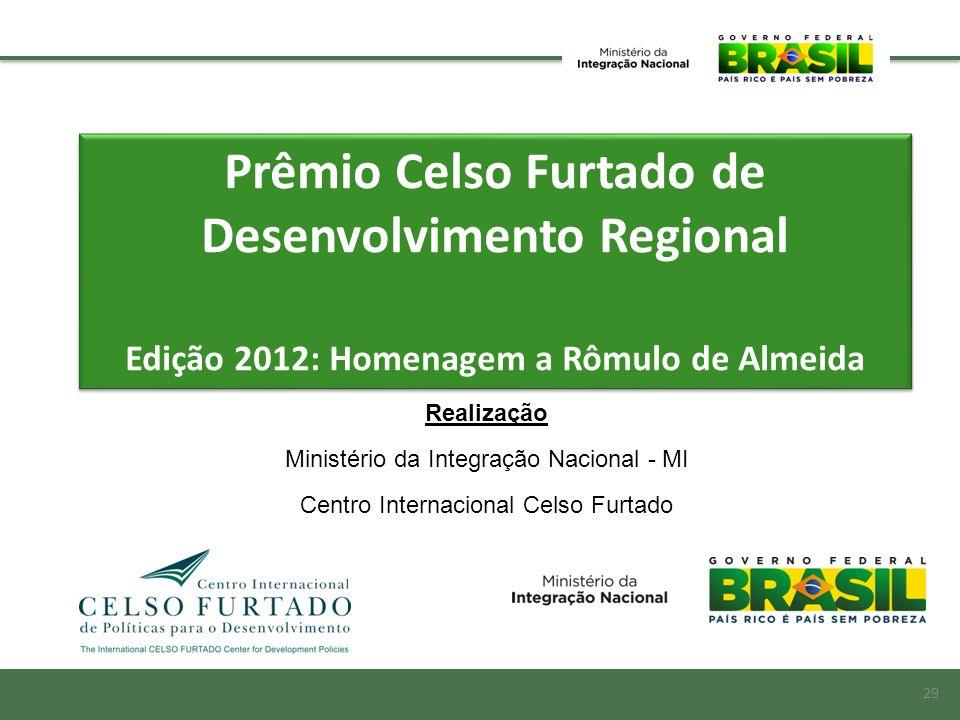 Prêmio Celso Furtado de Desenvolvimento Regional Edição 2012: Homenagem a Rômulo de Almeida Prêmio Celso Furtado de Desenvolvimento Regional Edição 20
