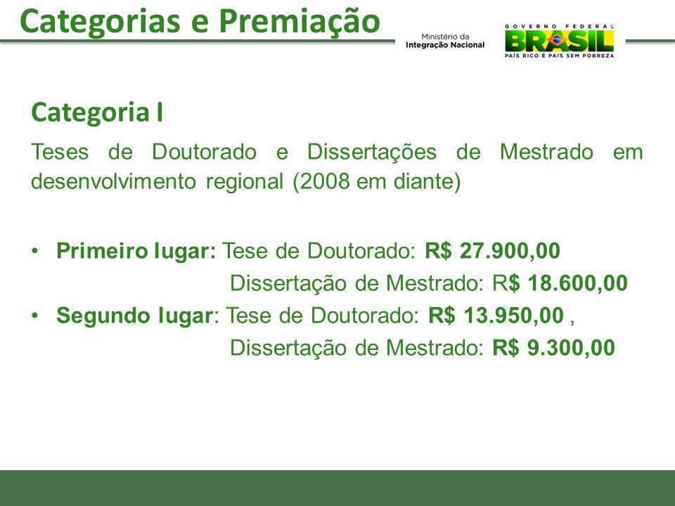 Categoria I Teses de Doutorado e Dissertações de Mestrado em desenvolvimento regional (2008 em diante) Primeiro lugar: Tese de Doutorado: R$ 27.900,00