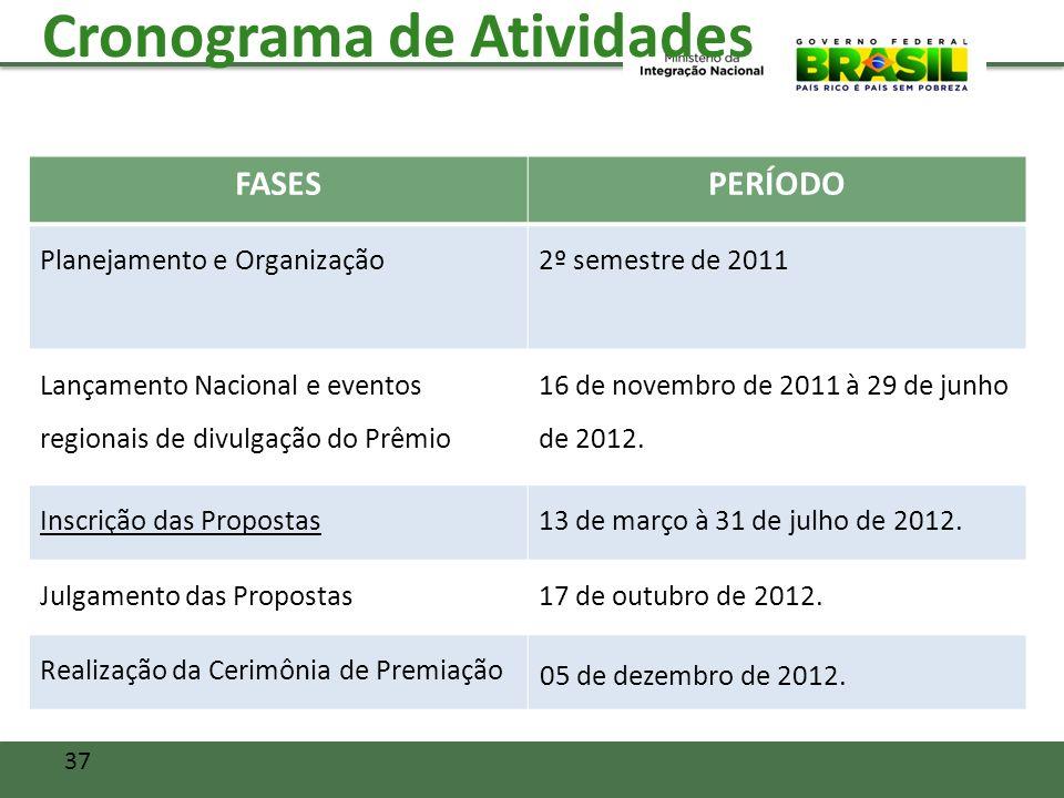 Cronograma de Atividades FASESPERÍODO Planejamento e Organização2º semestre de 2011 Lançamento Nacional e eventos regionais de divulgação do Prêmio 16