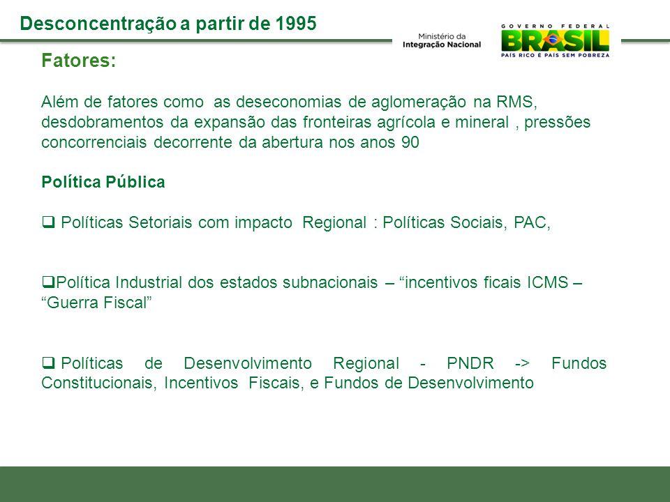  Fundos Constitucionais (2004=2010): R$ 72,2 bi  FDA e FDNE (2006-2011): R$ 7,2 bi de um orçamento de 19 bi  Incentivos Fiscais (2004-2011): R$ 32,2 bilhões  Incentivos Fiscais Estaduais (2004-2011 ): R$ 96 bi Estimativa Instrumentos de Financiamento da PNDR + de 80% Emendas Aprimorar os mecanismos existentes:  Papel e complementaridade: FC, FD, BNDES  Financerização FDs  Seletividade setorial e espacial financiamento e incentivos  BNDES: cartão, papel nos espaços menos dinâmicos nacional  Ampliar orçamento MI  FNDR: retomada de discussão com a Fazenda, novos fundings (Pre Sal, PAC, royalties mineração etc)