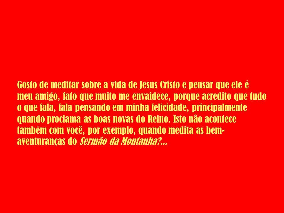 Gosto de meditar sobre a vida de Jesus Cristo e pensar que ele é meu amigo, fato que muito me envaidece, porque acredito que tudo o que fala, fala pen