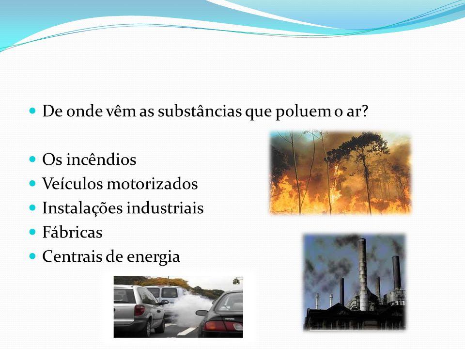 De onde vêm as substâncias que poluem o ar? Os incêndios Veículos motorizados Instalações industriais Fábricas Centrais de energia