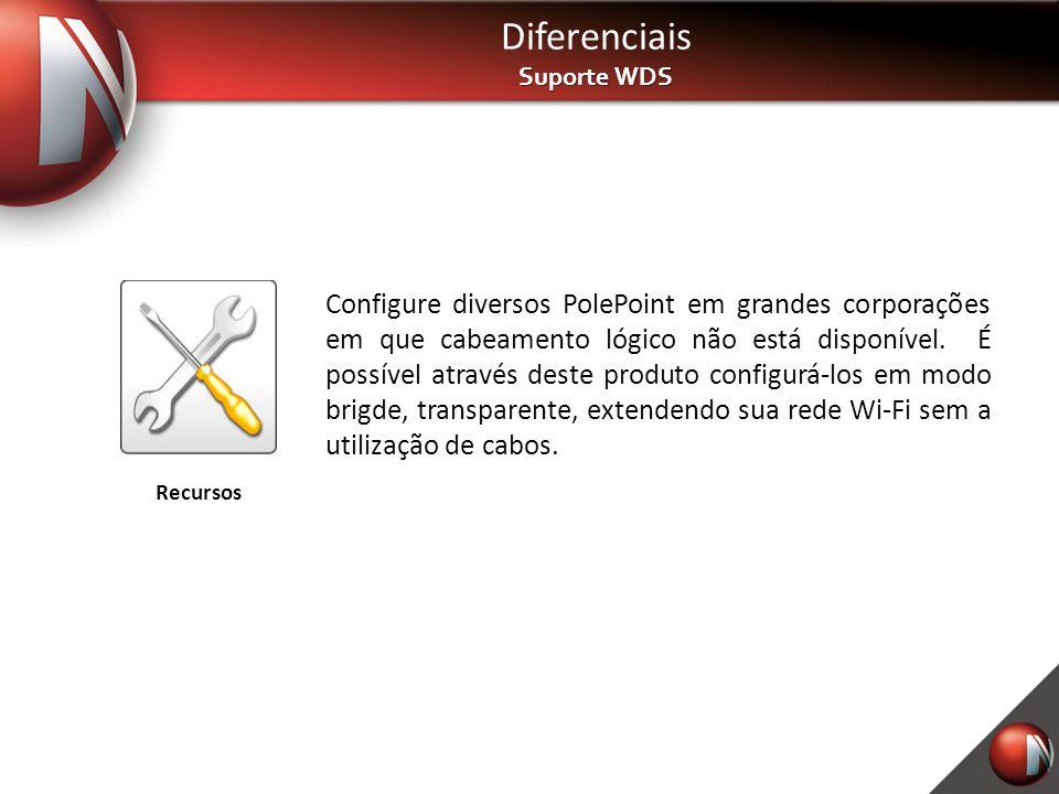 Diferenciais Suporte WDS Configure diversos PolePoint em grandes corporações em que cabeamento lógico não está disponível. É possível através deste pr
