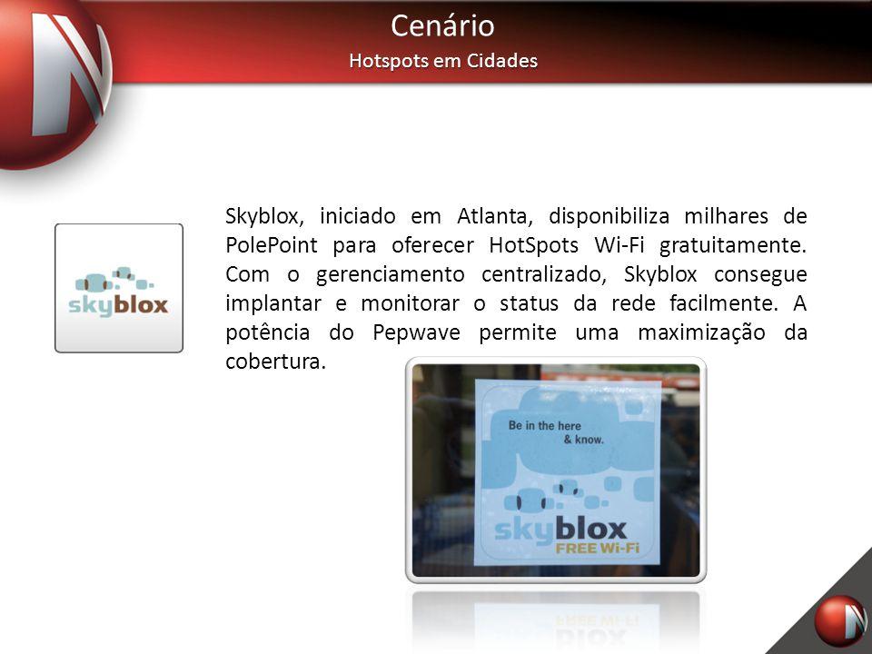 Cenário Hotspots em Cidades Skyblox, iniciado em Atlanta, disponibiliza milhares de PolePoint para oferecer HotSpots Wi-Fi gratuitamente. Com o gerenc