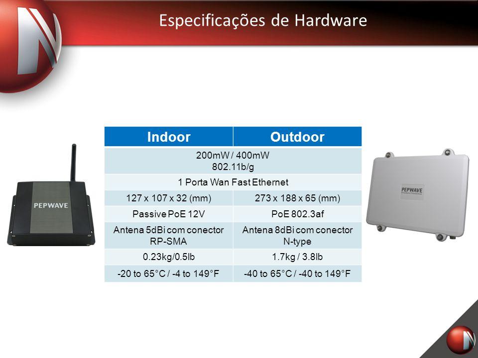 Especificações de Hardware IndoorOutdoor 200mW / 400mW 802.11b/g 1 Porta Wan Fast Ethernet 127 x 107 x 32 (mm)273 x 188 x 65 (mm) Passive PoE 12VPoE 8