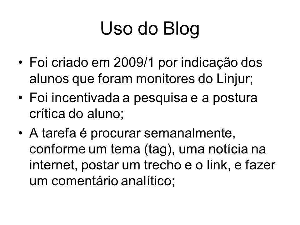 Uso do Blog Foi criado em 2009/1 por indicação dos alunos que foram monitores do Linjur; Foi incentivada a pesquisa e a postura crítica do aluno; A tarefa é procurar semanalmente, conforme um tema (tag), uma notícia na internet, postar um trecho e o link, e fazer um comentário analítico;