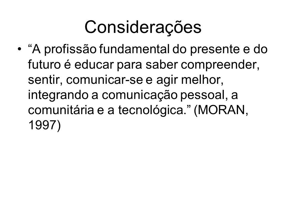 Considerações A profissão fundamental do presente e do futuro é educar para saber compreender, sentir, comunicar-se e agir melhor, integrando a comunicação pessoal, a comunitária e a tecnológica. (MORAN, 1997)