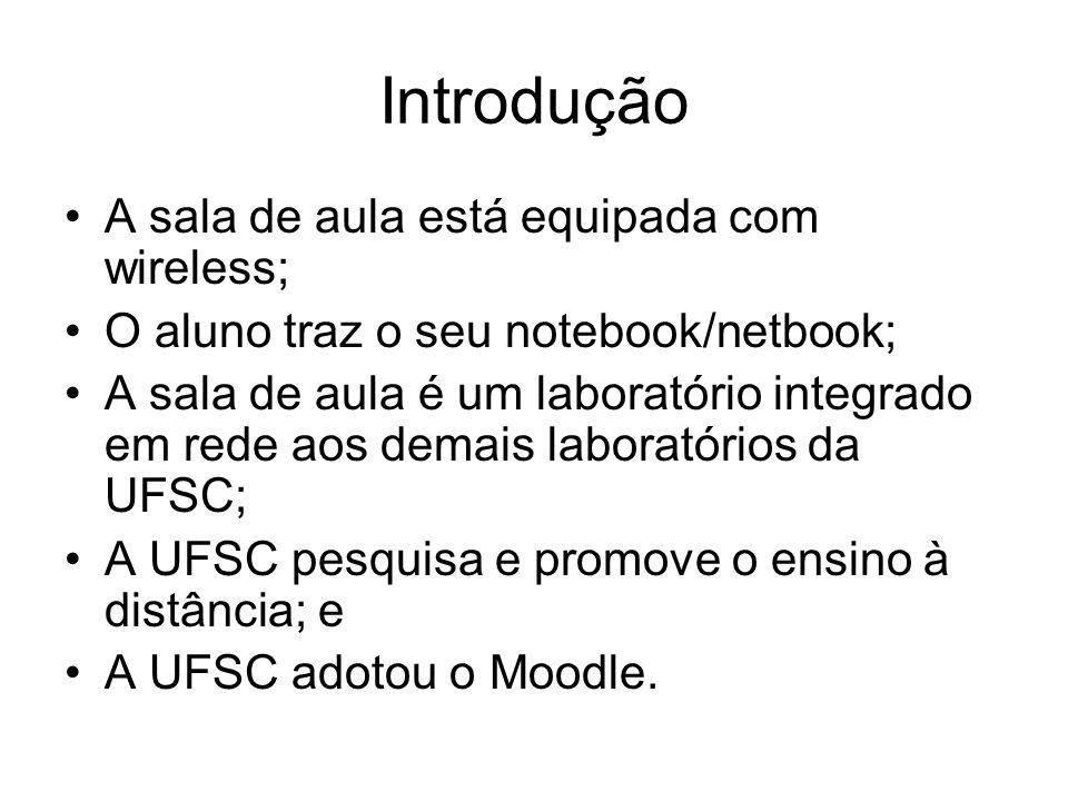 Introdução A sala de aula está equipada com wireless; O aluno traz o seu notebook/netbook; A sala de aula é um laboratório integrado em rede aos demais laboratórios da UFSC; A UFSC pesquisa e promove o ensino à distância; e A UFSC adotou o Moodle.