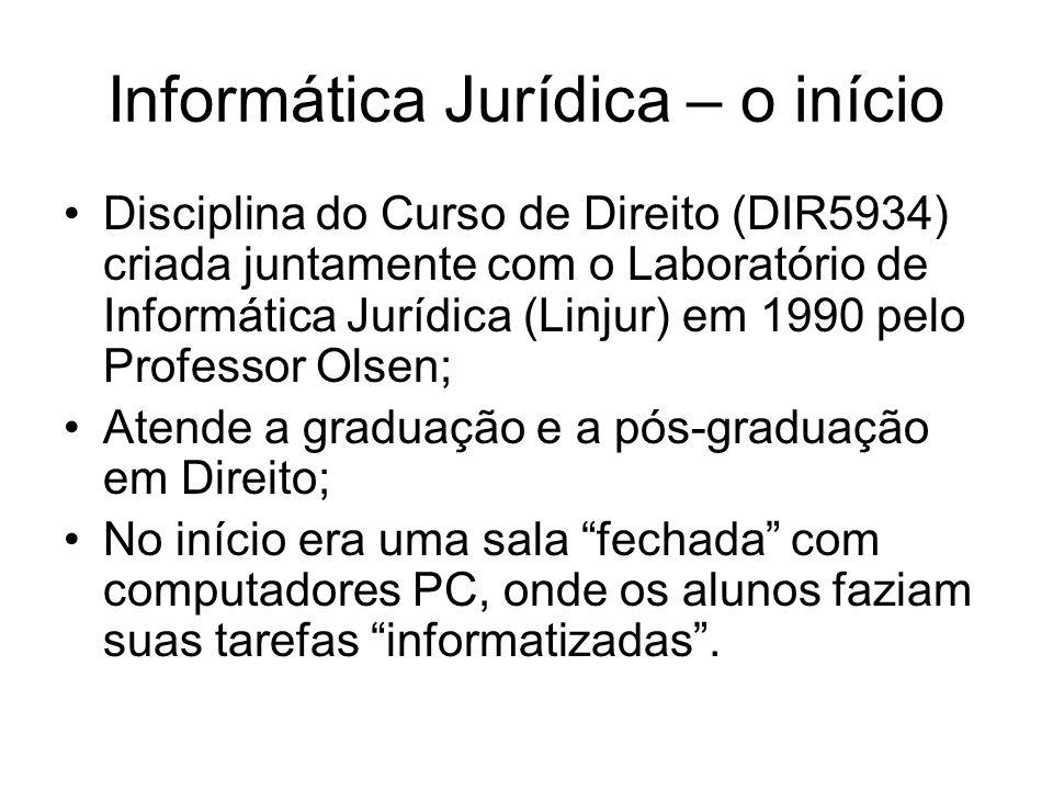 Informática Jurídica – 2009/1 18 encontros (presencial e Moodle) com 36 horas aula com os tópicos: Sociedade em rede; Riscos e vantagens da Internet; Governo eletrônico;
