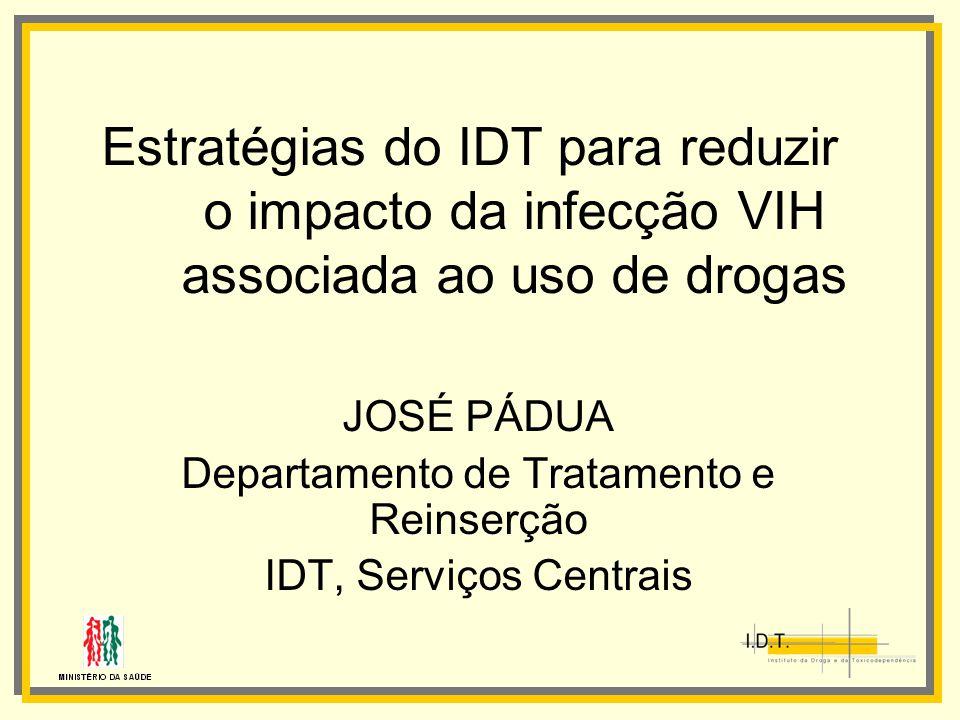 Estratégias do IDT para reduzir o impacto da infecção VIH associada ao uso de drogas JOSÉ PÁDUA Departamento de Tratamento e Reinserção IDT, Serviços