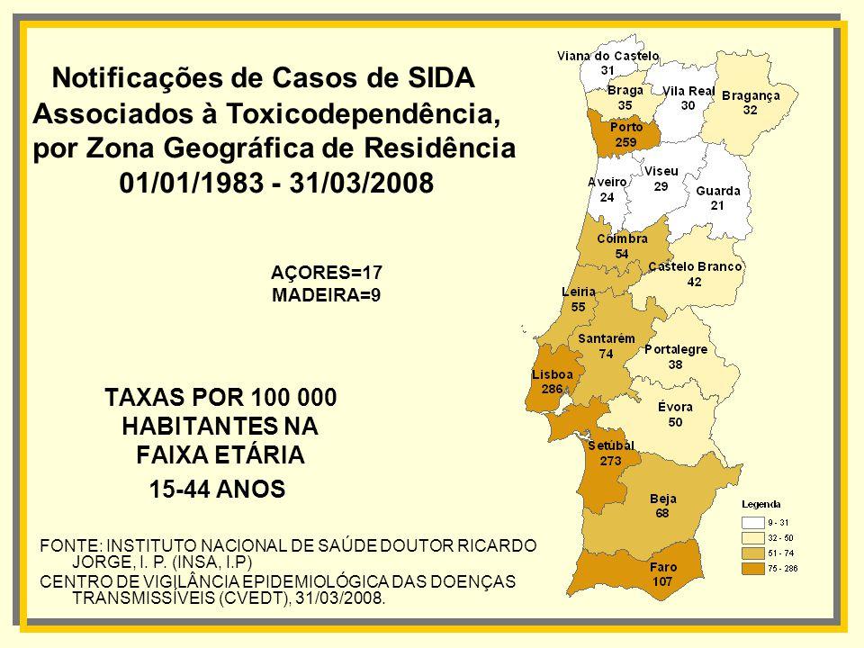 TAXAS POR 100 000 HABITANTES NA FAIXA ETÁRIA 15-44 ANOS Notificações de Casos de SIDA Associados à Toxicodependência, por Zona Geográfica de Residênci