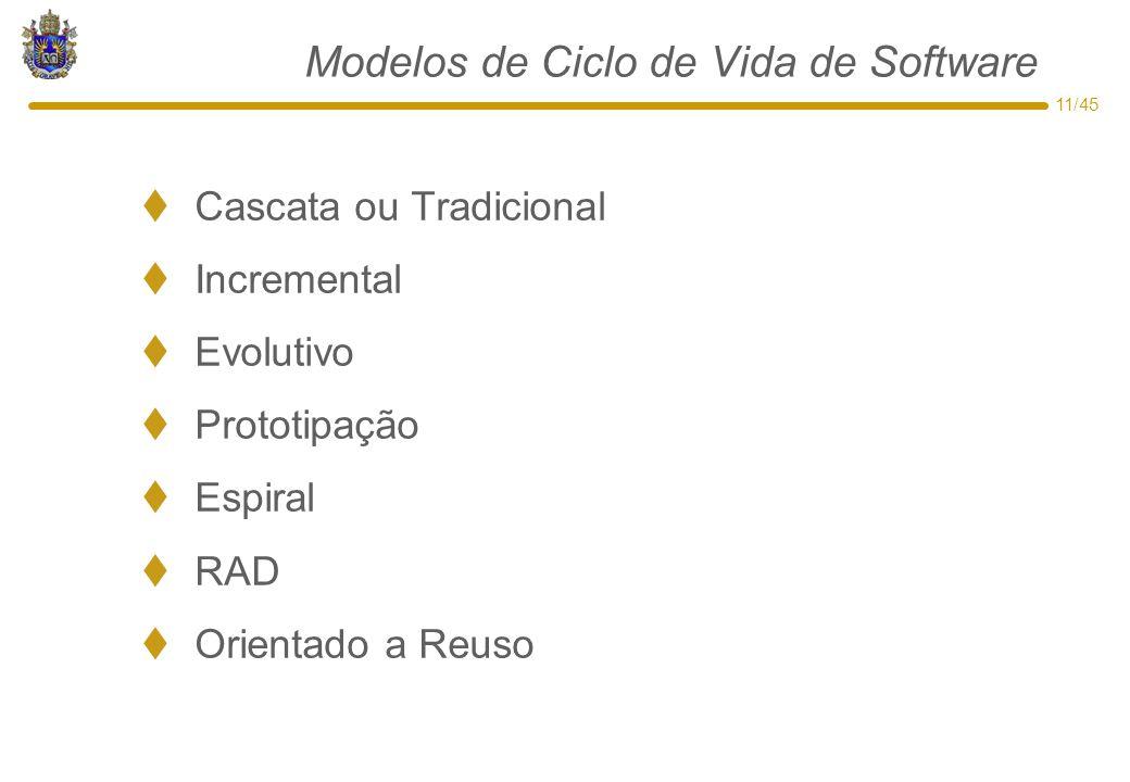 11/45 Modelos de Ciclo de Vida de Software  Cascata ou Tradicional  Incremental  Evolutivo  Prototipação  Espiral  RAD  Orientado a Reuso