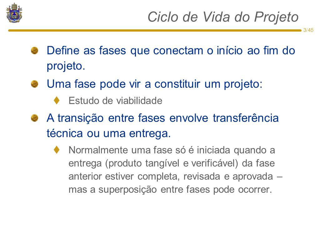 3/45 Ciclo de Vida do Projeto Define as fases que conectam o início ao fim do projeto. Uma fase pode vir a constituir um projeto:  Estudo de viabilid