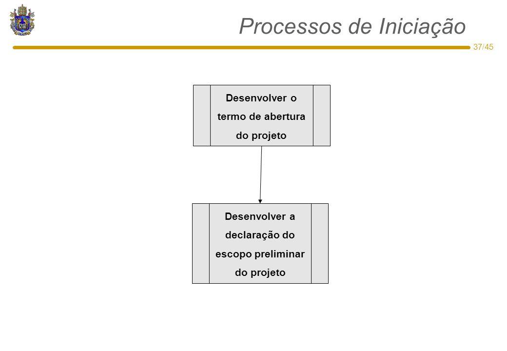 37/45 Processos de Iniciação Desenvolver o termo de abertura do projeto Desenvolver a declaração do escopo preliminar do projeto