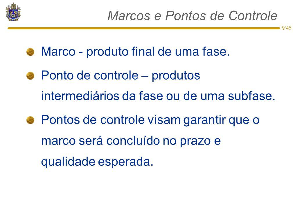 9/45 Marcos e Pontos de Controle Marco - produto final de uma fase. Ponto de controle – produtos intermediários da fase ou de uma subfase. Pontos de c