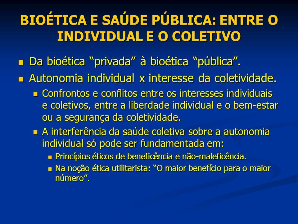 """BIOÉTICA E SAÚDE PÚBLICA: ENTRE O INDIVIDUAL E O COLETIVO Da bioética """"privada"""" à bioética """"pública"""". Da bioética """"privada"""" à bioética """"pública"""". Auto"""