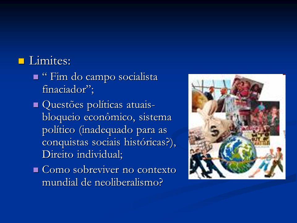 """Limites: Limites: """" Fim do campo socialista finaciador""""; """" Fim do campo socialista finaciador""""; Questões políticas atuais- bloqueio econômico, sistema"""