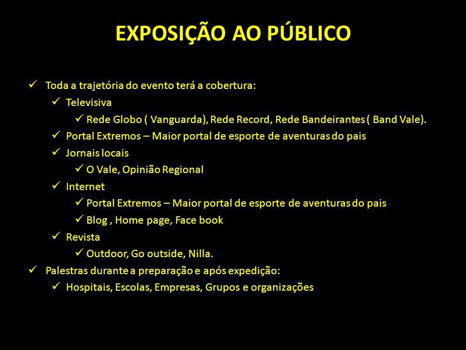 EXPOSIÇÃO AO PÚBLICO Toda a trajetória do evento terá a cobertura: Televisiva Rede Globo ( Vanguarda), Rede Record, Rede Bandeirantes ( Band Vale).
