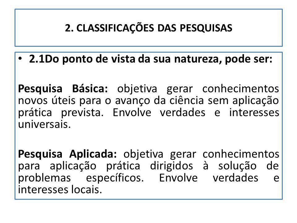 2. CLASSIFICAÇÕES DAS PESQUISAS 2.1Do ponto de vista da sua natureza, pode ser: Pesquisa Básica: objetiva gerar conhecimentos novos úteis para o avanç