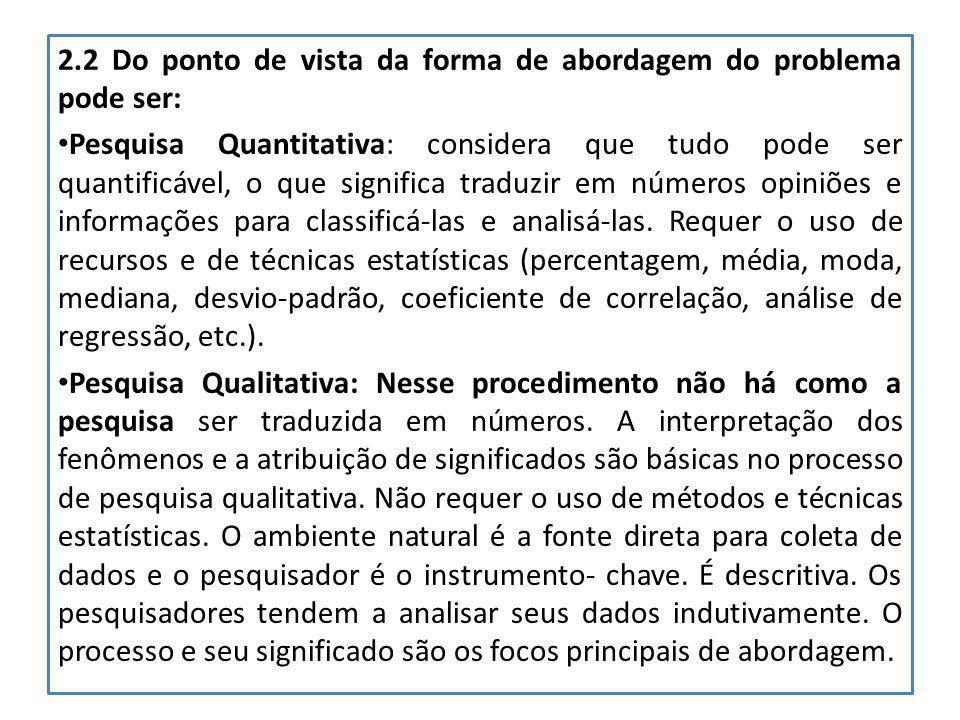 2.2 Do ponto de vista da forma de abordagem do problema pode ser: Pesquisa Quantitativa: considera que tudo pode ser quantificável, o que significa tr