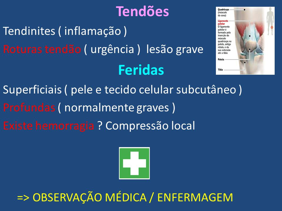 Tendões Tendinites ( inflamação ) Roturas tendão ( urgência ) lesão grave Feridas Superficiais ( pele e tecido celular subcutâneo ) Profundas ( normalmente graves ) Existe hemorragia .