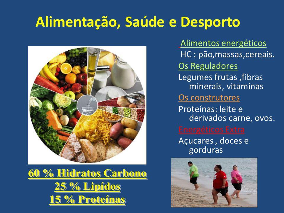 Alimentação, Saúde e Desporto Alimentos energéticos HC : pão,massas,cereais.