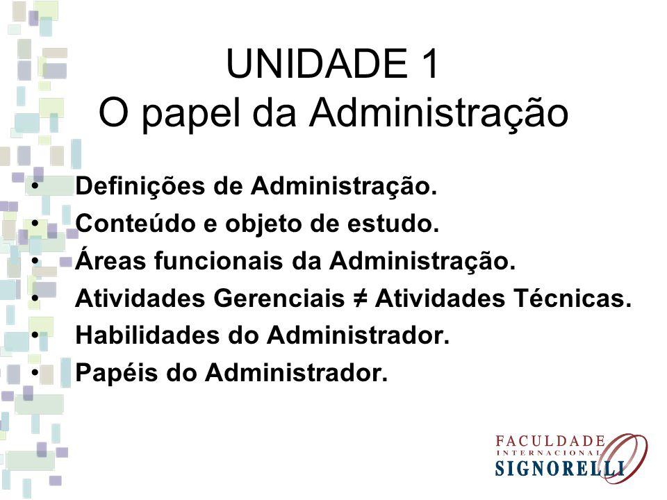 UNIDADE 1 O papel da Administração Definições de Administração. Conteúdo e objeto de estudo. Áreas funcionais da Administração. Atividades Gerenciais