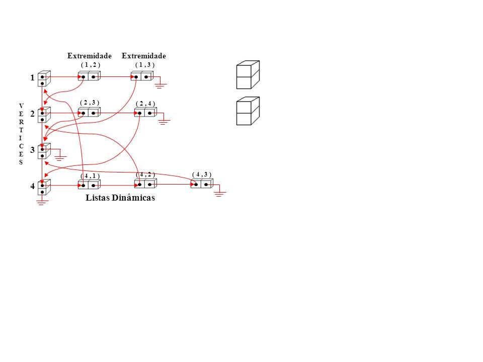 VERTICESVERTICES 1 2 3 4 Extremidade ( 1, 2 ) Extremidade ( 1, 3 ) ( 2, 3 ) ( 2, 4 ) ( 4, 1 ) ( 4, 2 )( 4, 3 ) Listas Dinâmicas