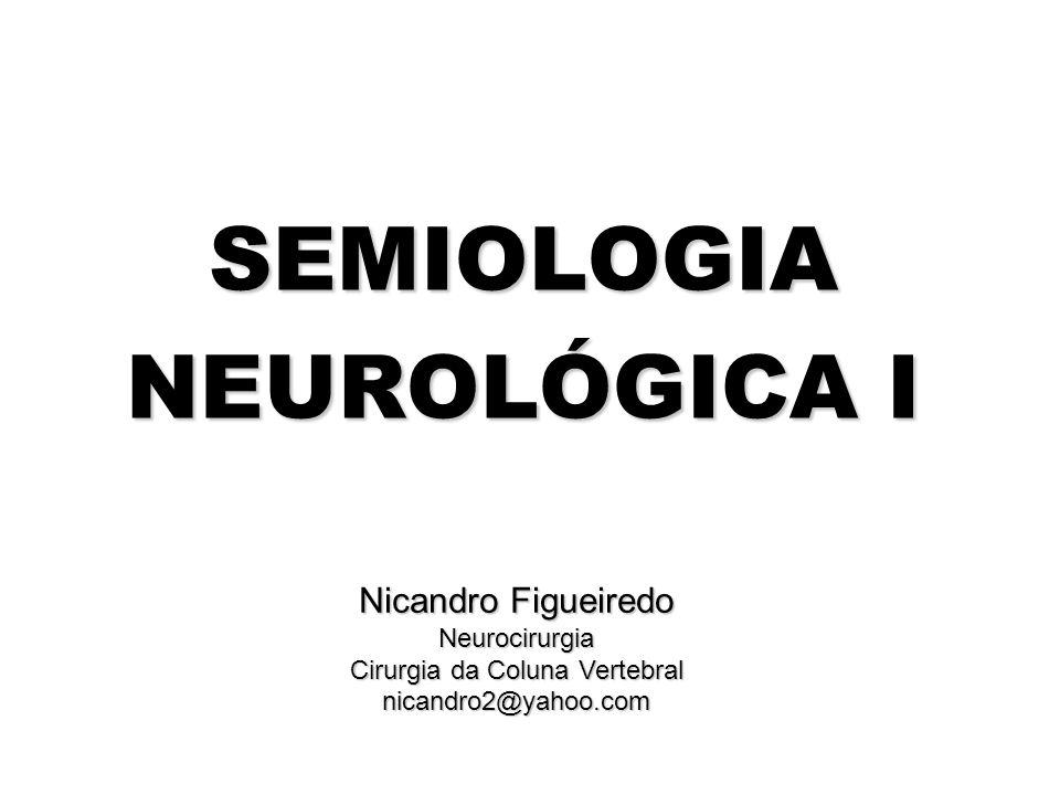Nicandro Figueiredo Neurocirurgia Cirurgia da Coluna Vertebral nicandro2@yahoo.com SEMIOLOGIA NEUROLÓGICA I