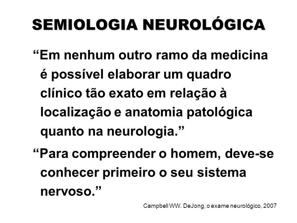 """SEMIOLOGIA NEUROLÓGICA """"Em nenhum outro ramo da medicina é possível elaborar um quadro clínico tão exato em relação à localização e anatomia patológic"""