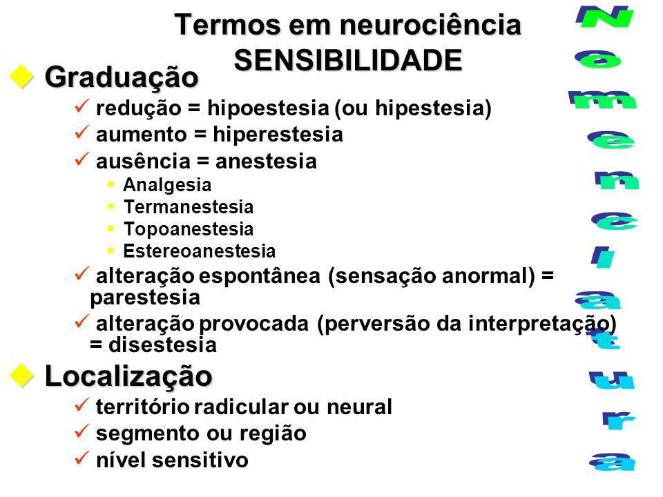Termos em neurociência SENSIBILIDADE u Graduação redução = hipoestesia (ou hipestesia) aumento = hiperestesia ausência = anestesia  Analgesia  Terma