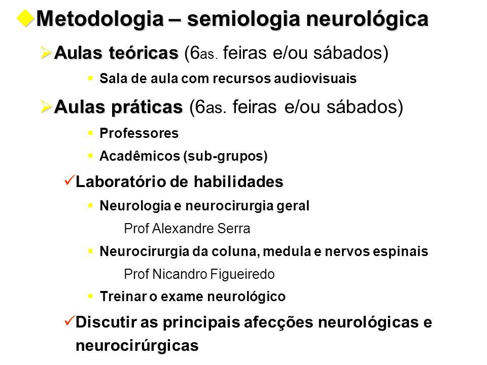 uMetodologia – semiologia neurológica  Aulas teóricas  Aulas teóricas (6 as. feiras e/ou sábados )  Sala de aula com recursos audiovisuais  Aulas