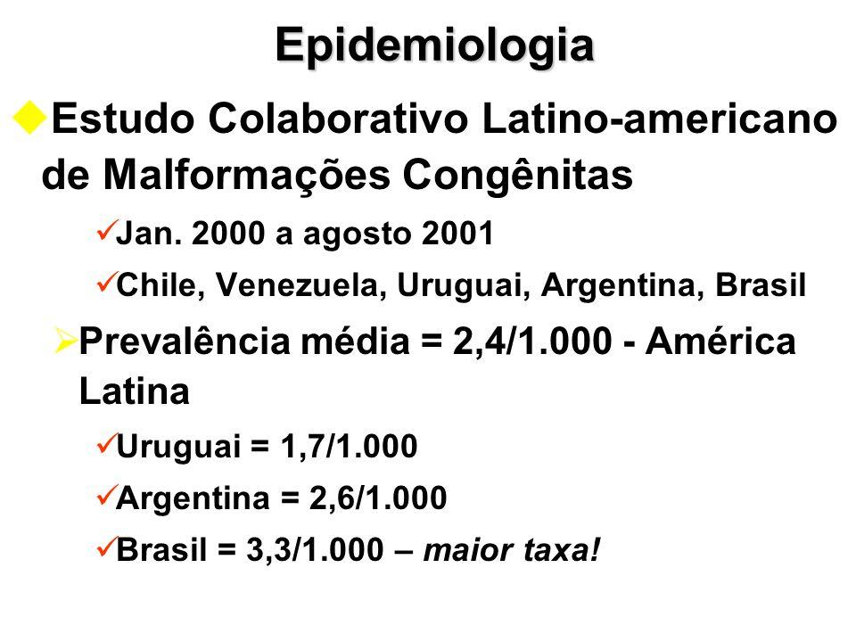Epidemiologia u uEstudo Colaborativo Latino-americano de Malformações Congênitas Jan. 2000 a agosto 2001 Chile, Venezuela, Uruguai, Argentina, Brasil