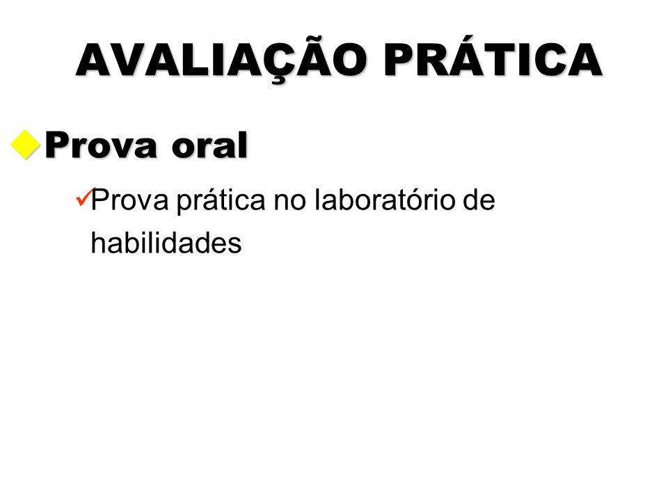 AVALIAÇÃO PRÁTICA uProva oral Prova prática no laboratório de habilidades