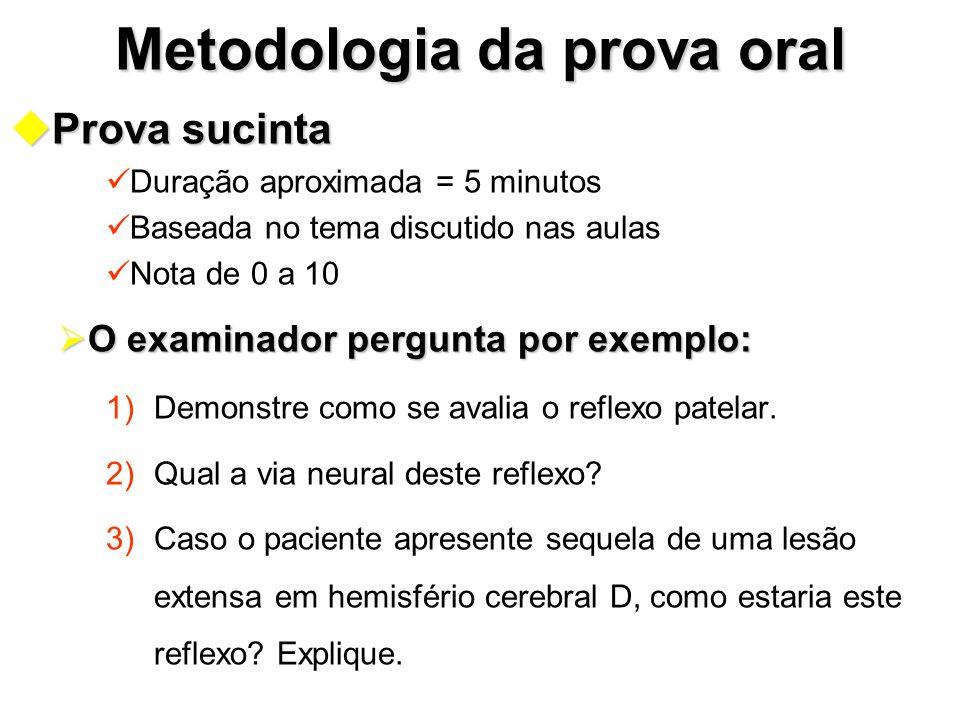 Metodologia da prova oral uProva sucinta Duração aproximada = 5 minutos Baseada no tema discutido nas aulas Nota de 0 a 10  O examinador pergunta por