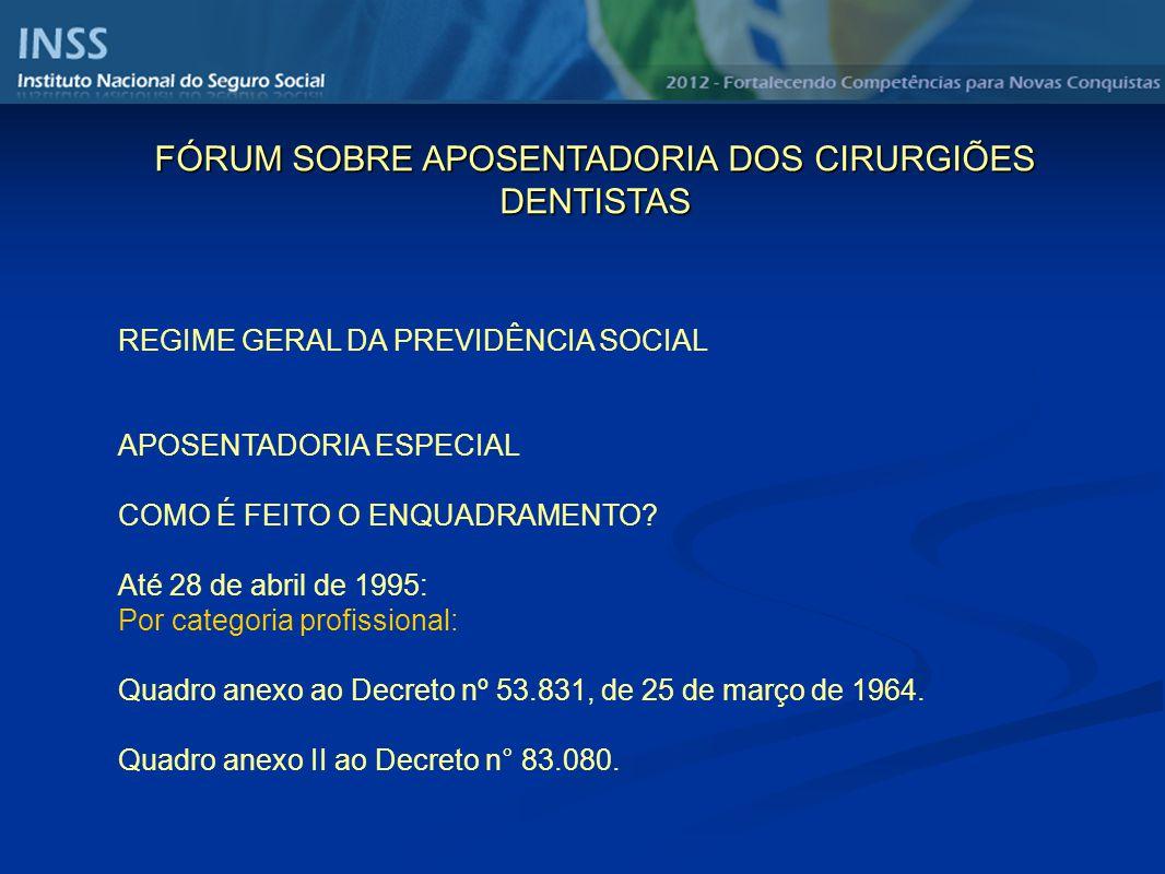 REGIME GERAL DA PREVIDÊNCIA SOCIAL APOSENTADORIA ESPECIAL COMO É FEITO O ENQUADRAMENTO? Até 28 de abril de 1995: Por categoria profissional: Quadro an