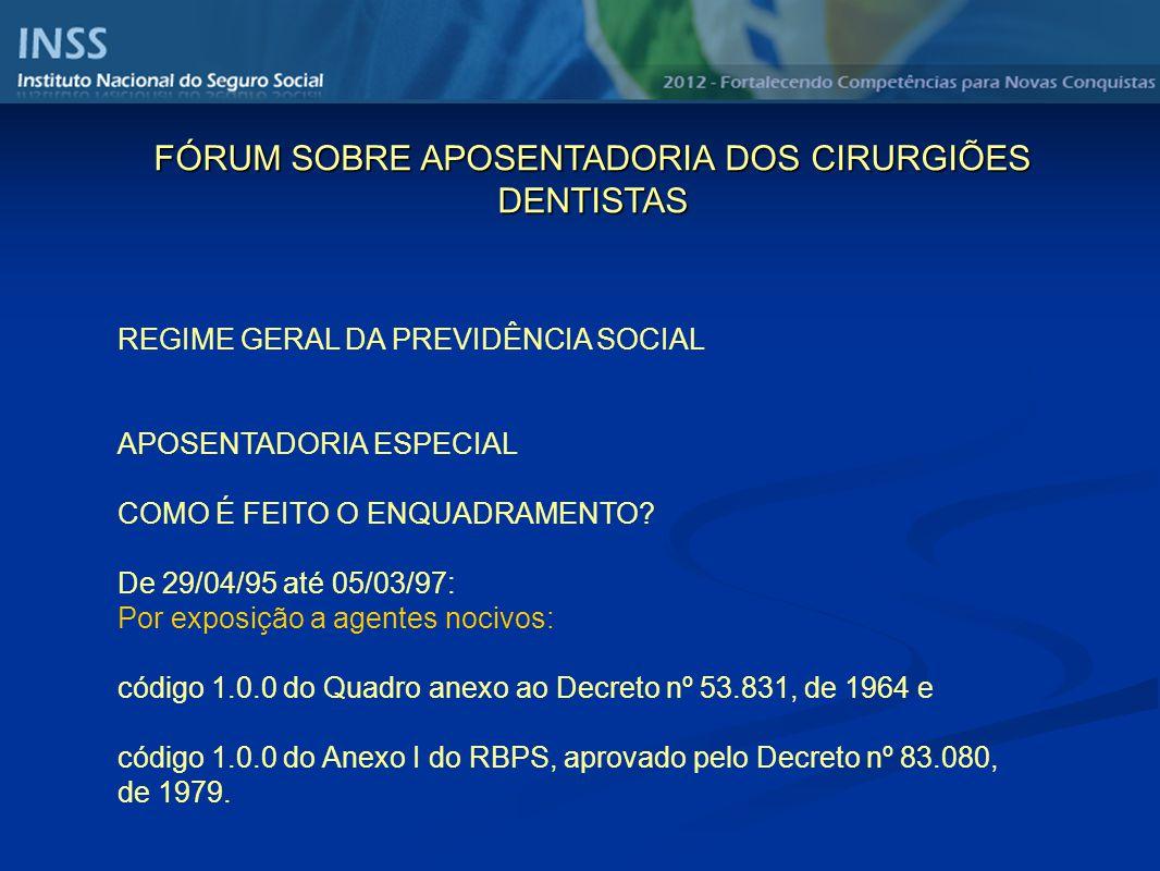 REGIME GERAL DA PREVIDÊNCIA SOCIAL APOSENTADORIA ESPECIAL COMO É FEITO O ENQUADRAMENTO? De 29/04/95 até 05/03/97: Por exposição a agentes nocivos: cód