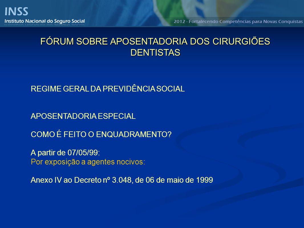 REGIME GERAL DA PREVIDÊNCIA SOCIAL APOSENTADORIA ESPECIAL COMO É FEITO O ENQUADRAMENTO? A partir de 07/05/99: Por exposição a agentes nocivos: Anexo I