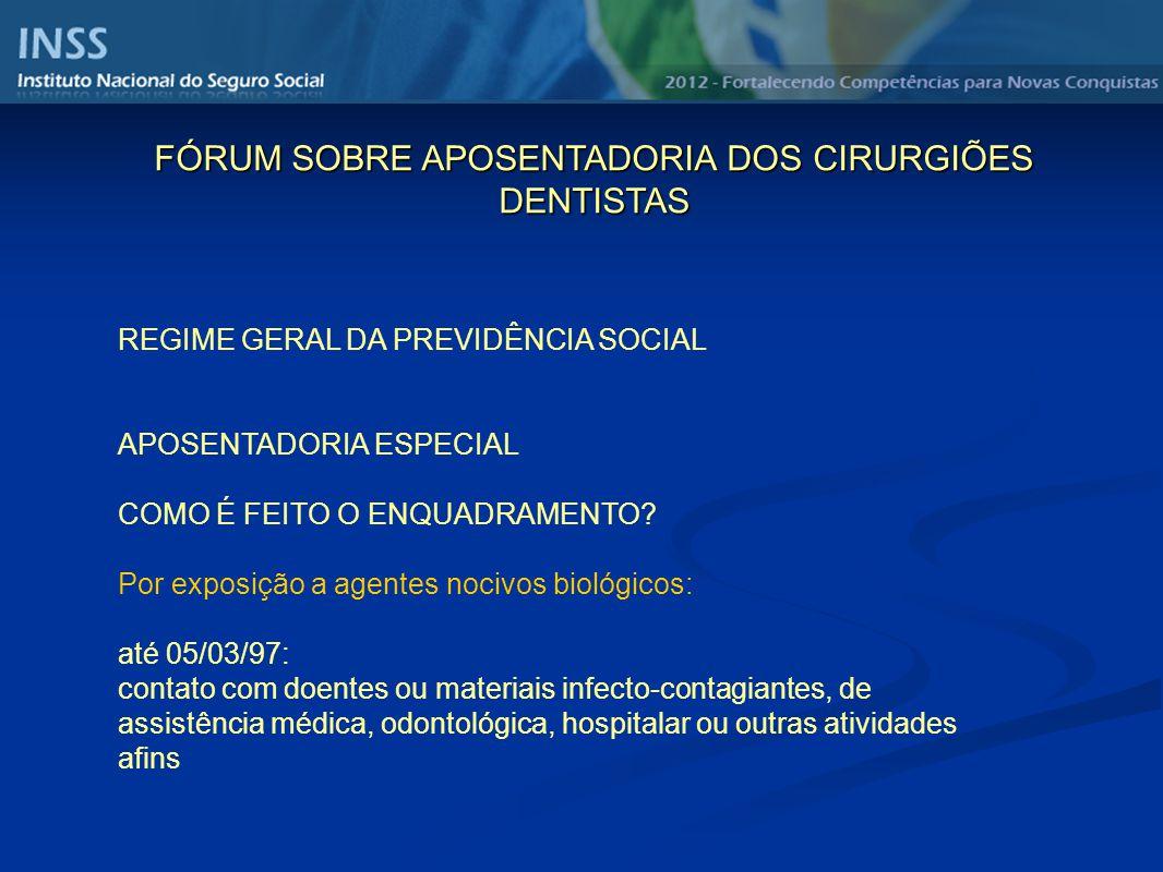 REGIME GERAL DA PREVIDÊNCIA SOCIAL APOSENTADORIA ESPECIAL COMO É FEITO O ENQUADRAMENTO? Por exposição a agentes nocivos biológicos: até 05/03/97: cont