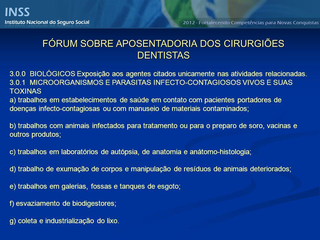 3.0.0 BIOLÓGICOS Exposição aos agentes citados unicamente nas atividades relacionadas.