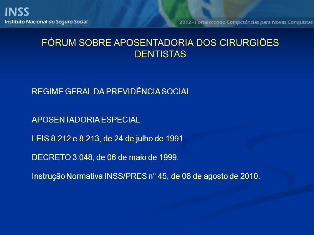 REGIME GERAL DA PREVIDÊNCIA SOCIAL APOSENTADORIA ESPECIAL LEIS 8.212 e 8.213, de 24 de julho de 1991. DECRETO 3.048, de 06 de maio de 1999. Instrução