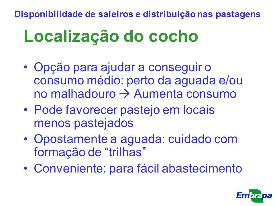 Localização do cocho Opção para ajudar a conseguir o consumo médio: perto da aguada e/ou no malhadouro  Aumenta consumo Pode favorecer pastejo em loc