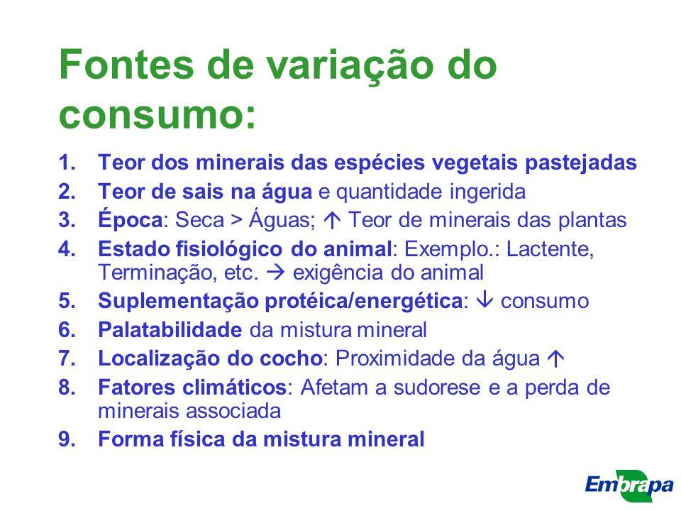 Fontes de variação do consumo: 1.Teor dos minerais das espécies vegetais pastejadas 2.Teor de sais na água e quantidade ingerida 3.Época: Seca > Águas