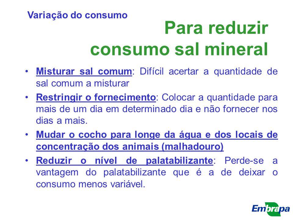 Para reduzir consumo sal mineral Misturar sal comum: Difícil acertar a quantidade de sal comum a misturar Restringir o fornecimento: Colocar a quantid