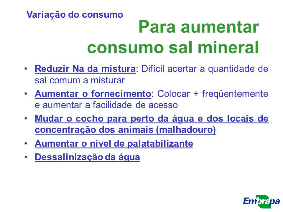 Para aumentar consumo sal mineral Reduzir Na da mistura: Difícil acertar a quantidade de sal comum a misturar Aumentar o fornecimento: Colocar + freqü
