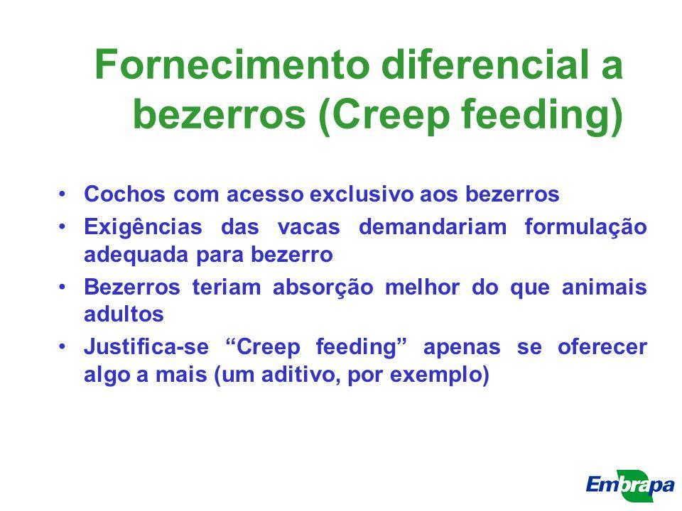 Fornecimento diferencial a bezerros (Creep feeding) Cochos com acesso exclusivo aos bezerros Exigências das vacas demandariam formulação adequada para