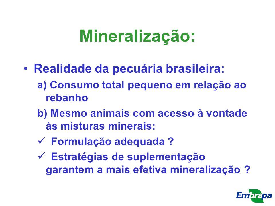 Mineralização: Realidade da pecuária brasileira: a) Consumo total pequeno em relação ao rebanho b) Mesmo animais com acesso à vontade às misturas mine