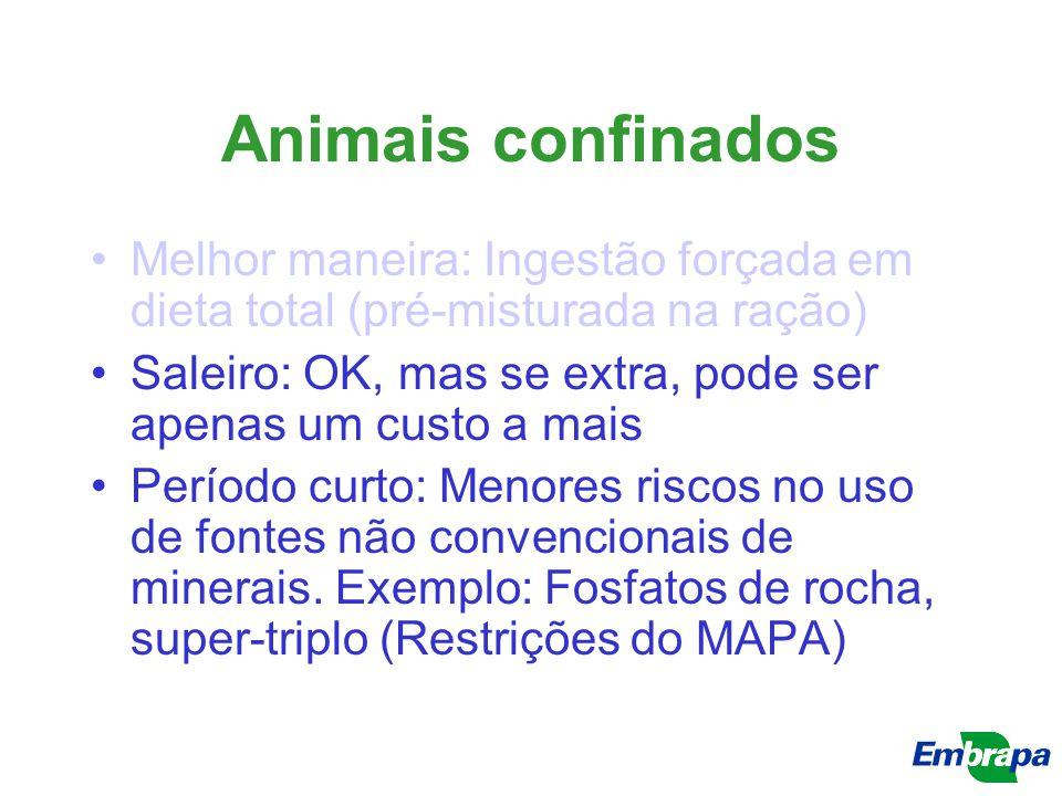 Animais confinados Melhor maneira: Ingestão forçada em dieta total (pré-misturada na ração) Saleiro: OK, mas se extra, pode ser apenas um custo a mais
