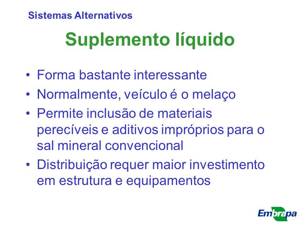 Suplemento líquido Forma bastante interessante Normalmente, veículo é o melaço Permite inclusão de materiais perecíveis e aditivos impróprios para o s